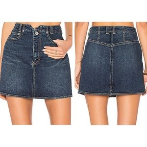 We The Free People She's All That Denim Skirt 24